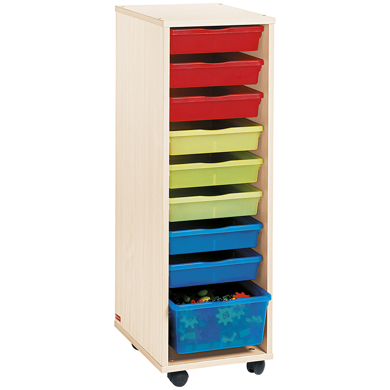 Tall Column Unit with Multicolored Trays - Birch-effect