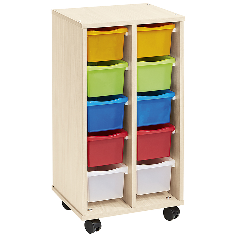 Low Column with 10 Multicolored Small Trays - Birch-effect