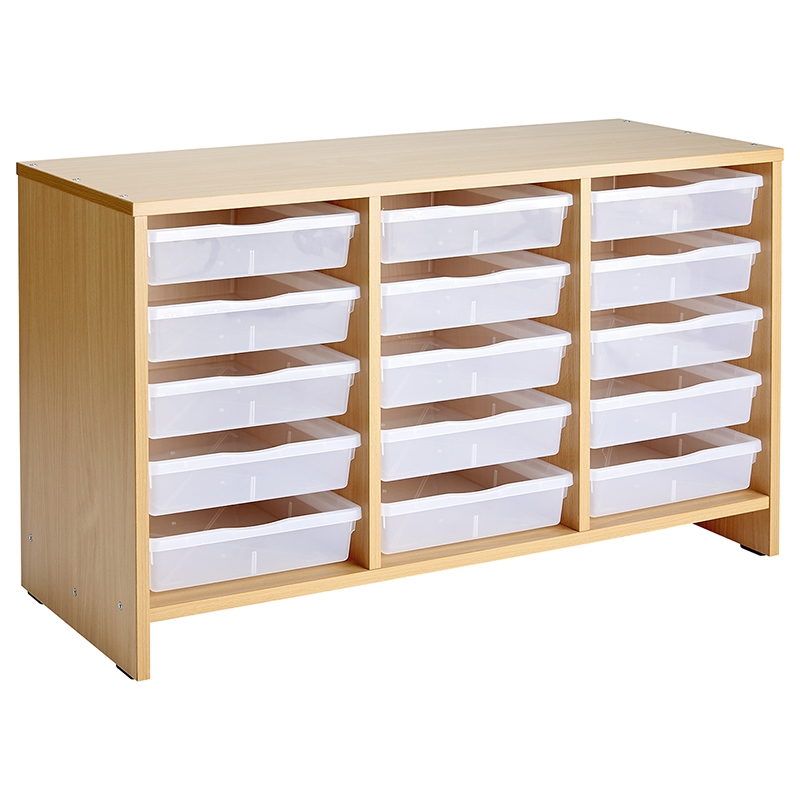 Unit with 15 Trays - Beech effect