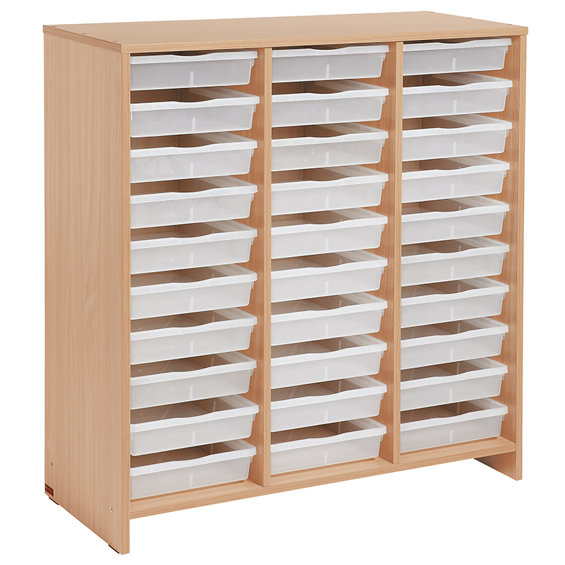 Tall Unit with 30 Clear Trays - Beech-effect