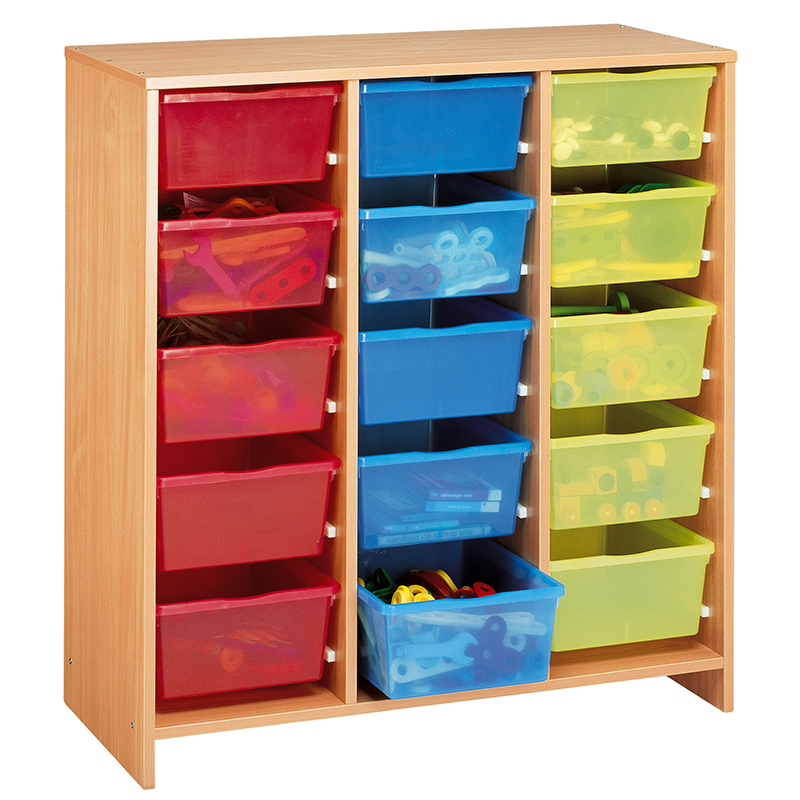 Tall Unit with 15 Multicoloured Trays - Beech-effect