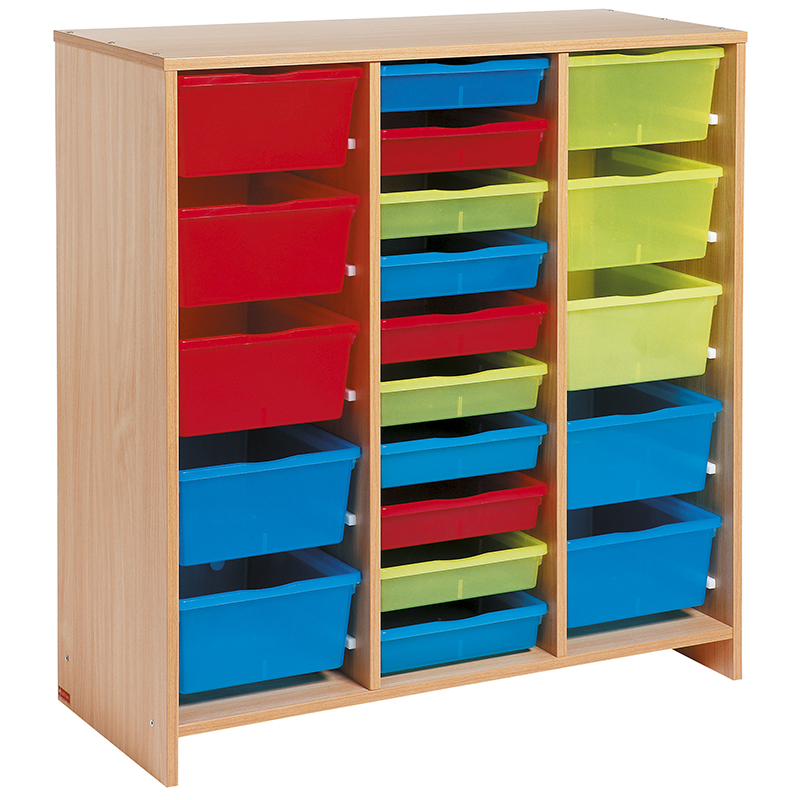 Tall Unit with 20 Multicoloured Trays - Beech-effect