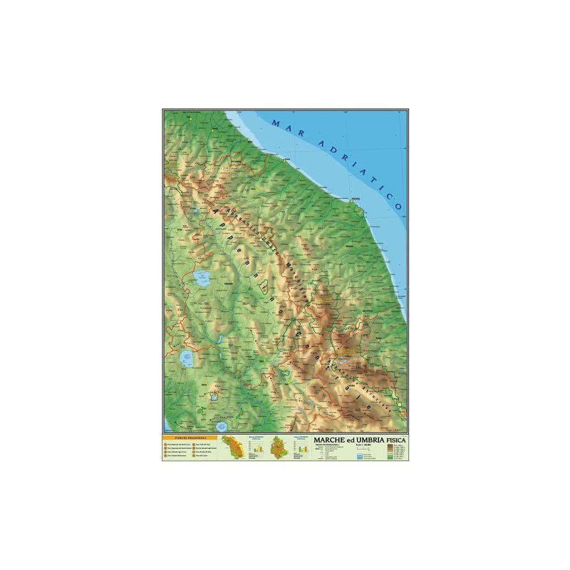 Cartina Marche Umbria.Carta Geografica 100x140 Marche E Umbria Cartine Geografiche Anabasi